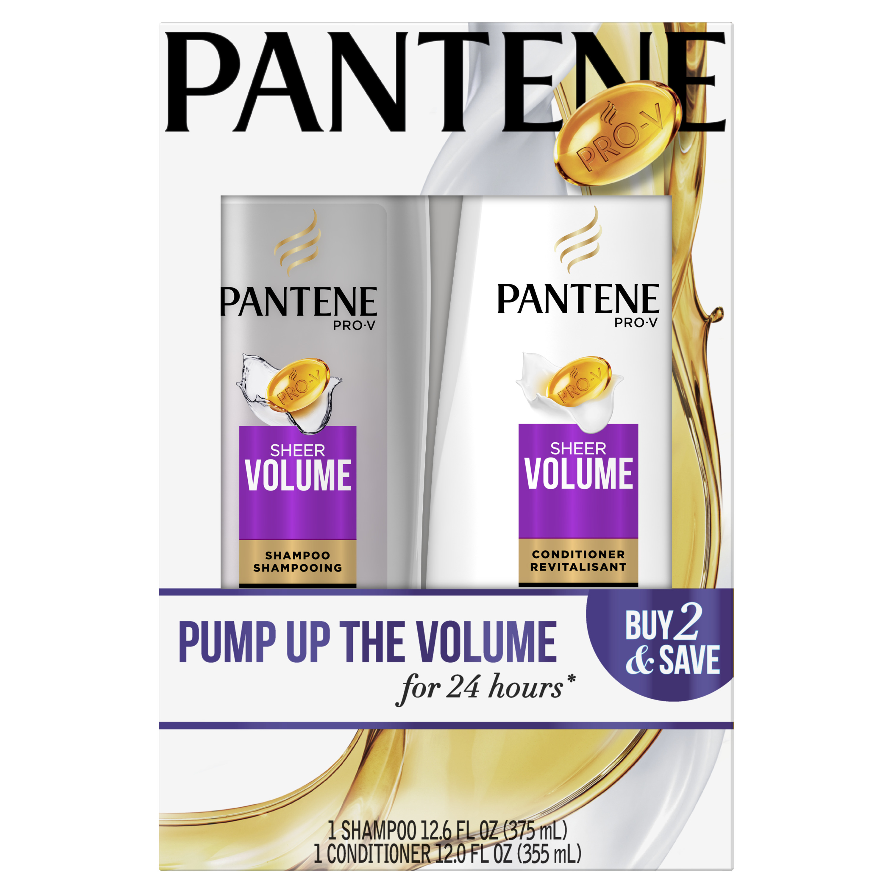 Pantene Pro-V Sheer Volume Shampoo and Conditioner Dual Pack, 24.6 fl oz