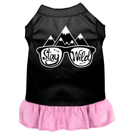 Stay Wild Screen Print Dog Dress Black With Light Pink Xs (8)