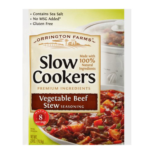 Orrington Farms Slow Cookers Vegetable Beef Stew Seasoning Mix 2 5 Oz Packet Walmart Com Walmart Com