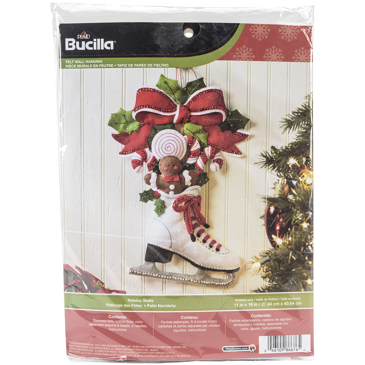 "Holiday Skate Wall Hanging Felt Applique Kit, 11"" x 16"""