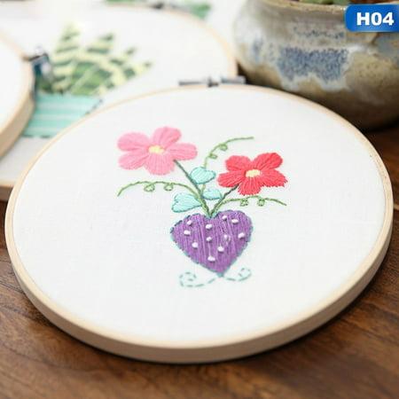 KABOER Flower Pattern DIY Handmade Embroidery Sampler Kit For Beginners Craft