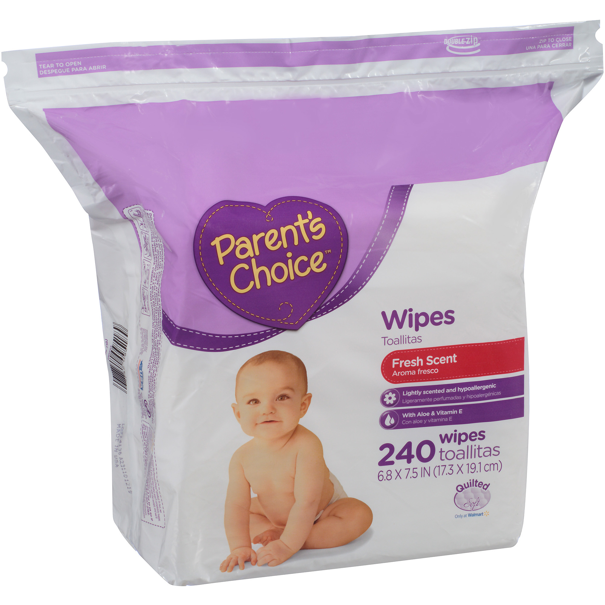Parent's Choice Fresh Scent Baby Wipes, 240 sheets Resealable Zipper Bag Refill