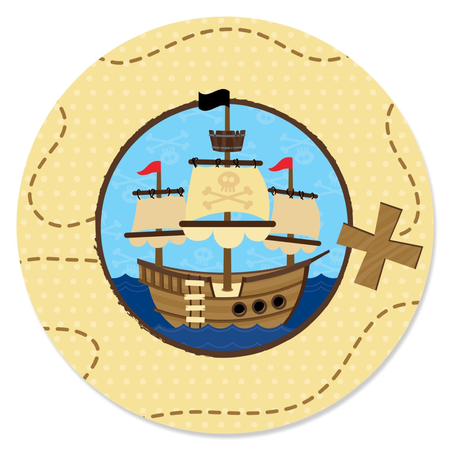 Ahoy Mates! - Pirate - Party Circle Sticker Labels - 24 Count