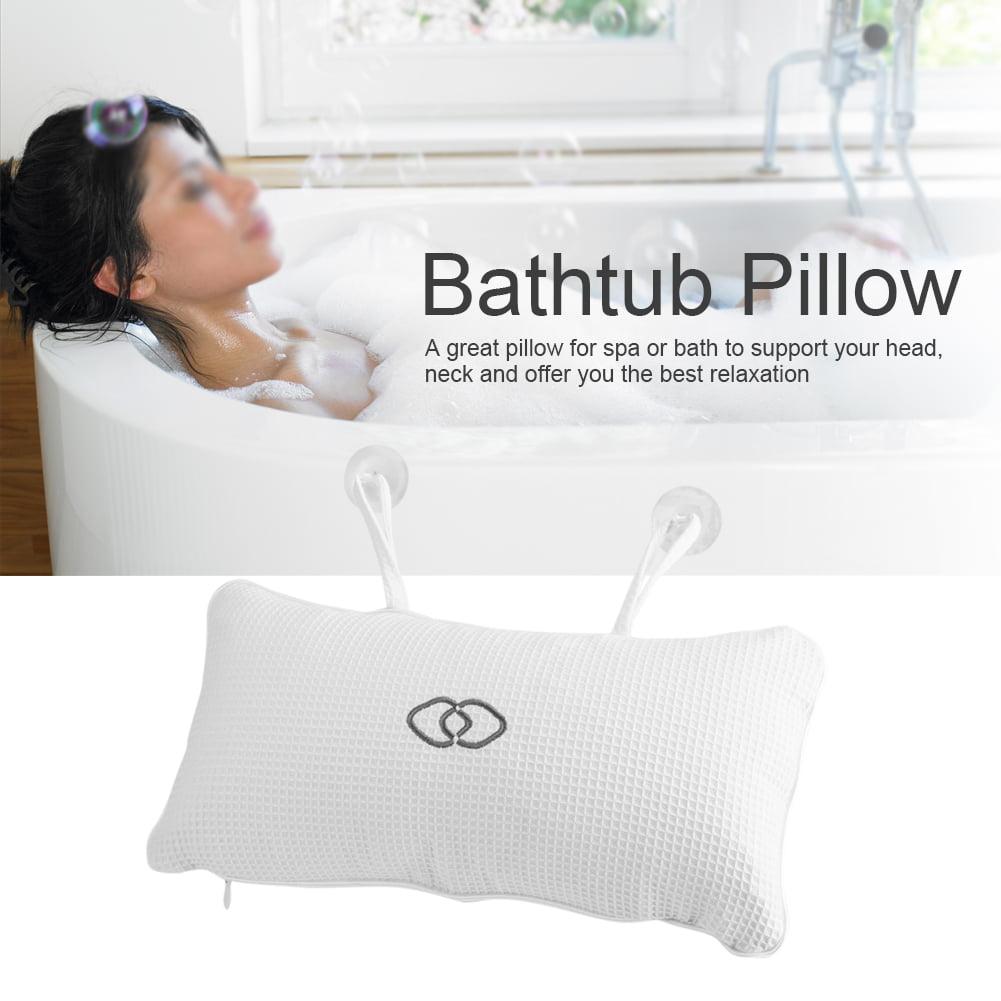 Non-slip Bathtub Spa Pillow Bath Cushion with Suction Cups Head Neck ...