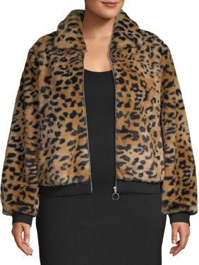 No Boundaries Juniors' Plus Size Faux Fur Animal Printed Jacket