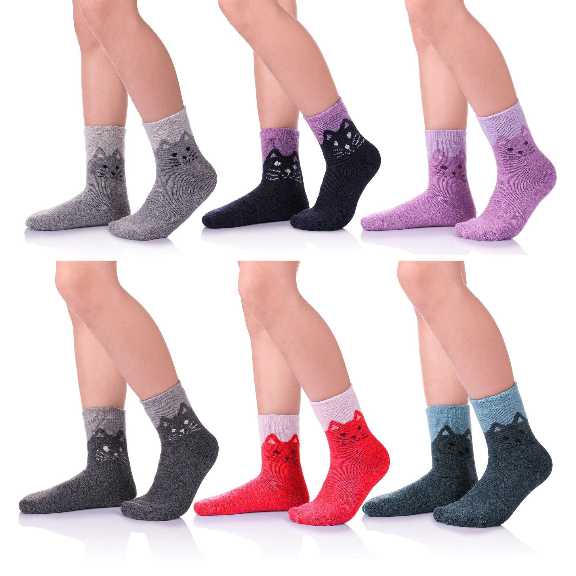 Kids Winter Socks Super Thick Sofe Wool Socks for Boys Girls Crew Socks 6 Pairs