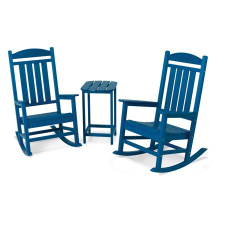 POLYWOOD; Presidential 3 pc. Recycled Plastic Rocker Set with Tall Side Table