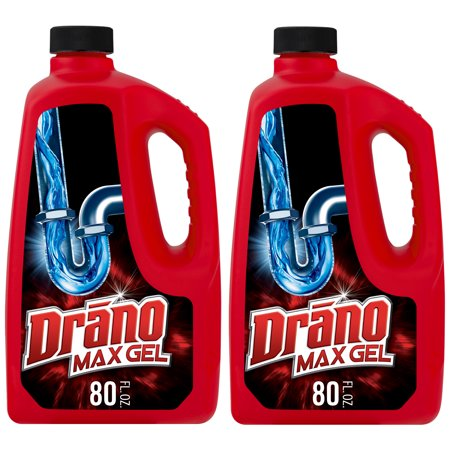 Drain Cleaner Septic Tanks (Drano Max Gel Clog Remover, 80 fl oz (2)