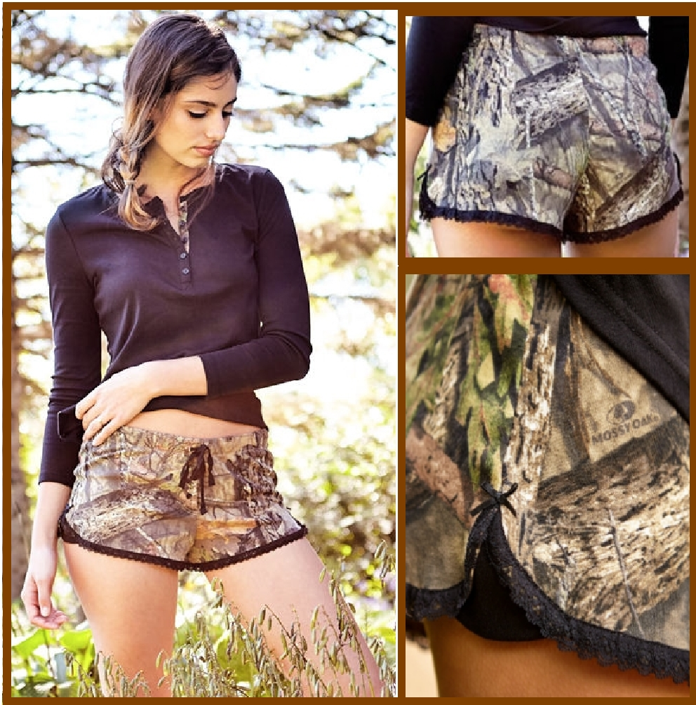 Women's Sleep / Lounge Shorts Mossy Oak Breakup Country Camo with Black Accents (X-Large)