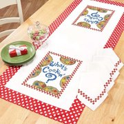 Herrschners Kitchen Talk Table Runner & Napkins Stamped Cross-Stitch