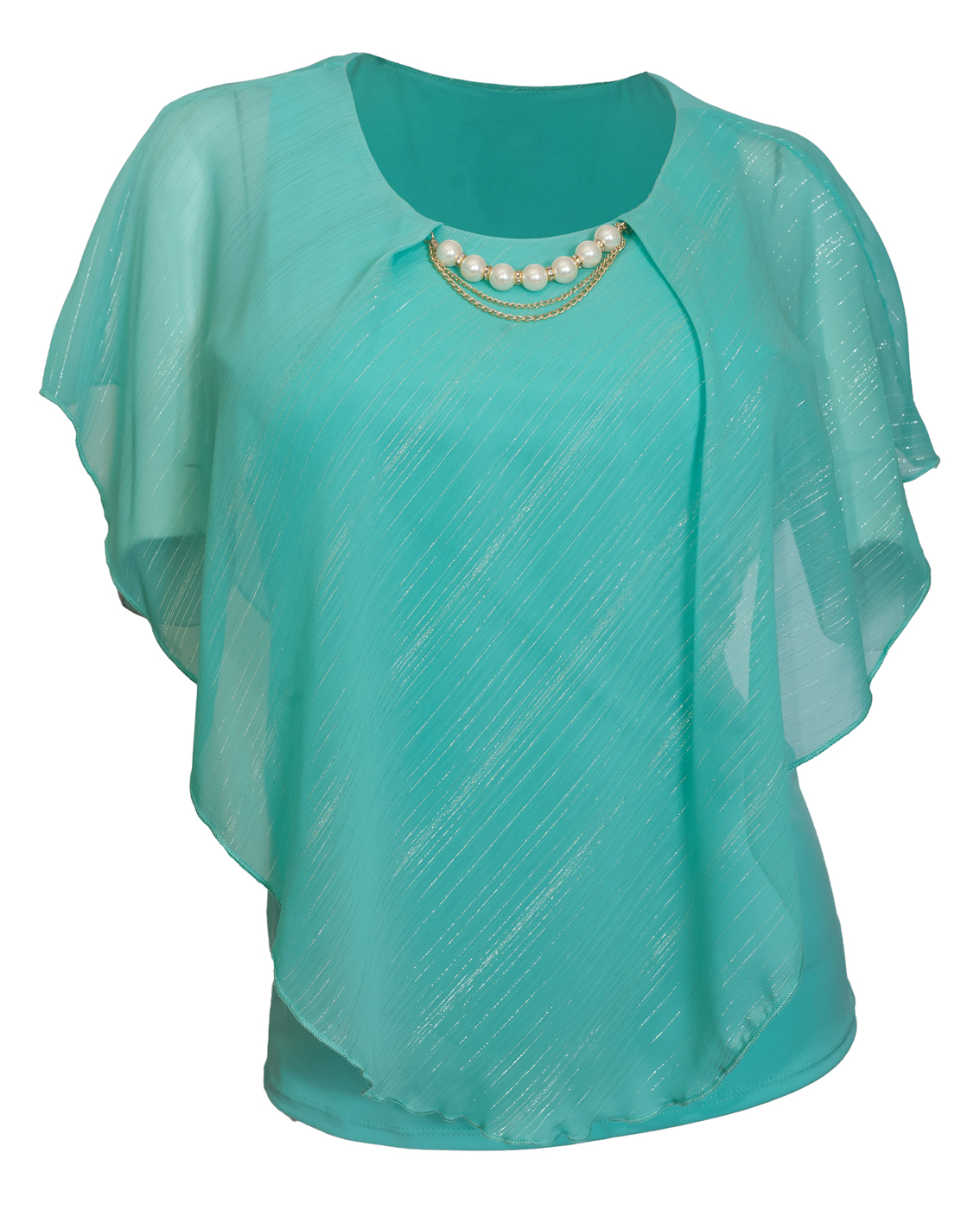 eVogues Plus Size Layered Poncho Top with Pearl Pendant Teal Glitter Stripe 18223