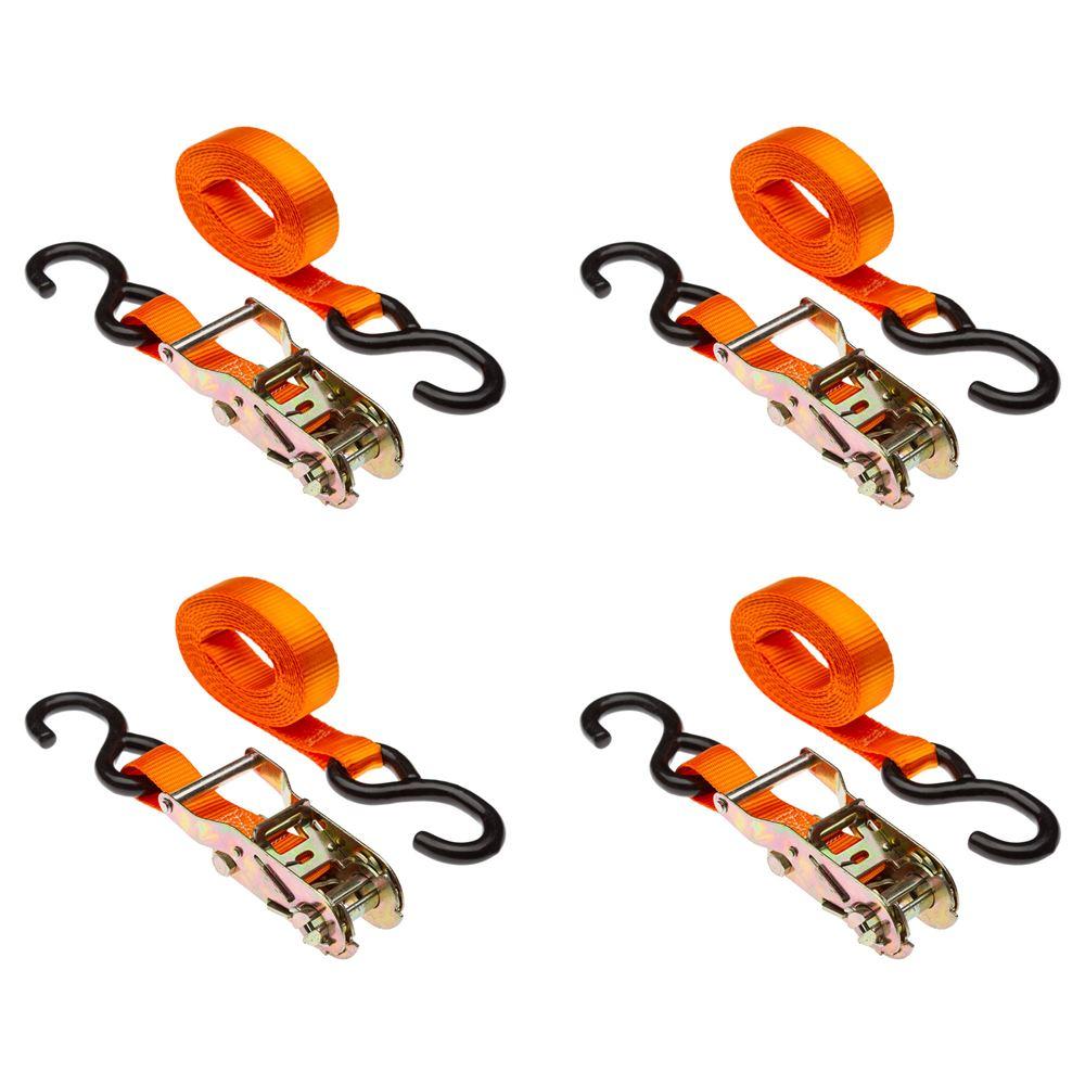 "120"" Orange Motorcycle & ATV Ratchet Tie-down strap set"