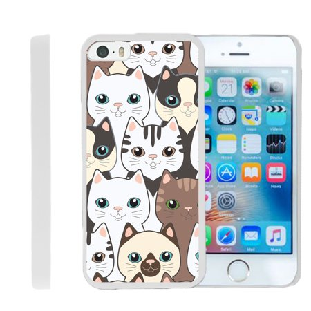 [Apple iPhone SE Case, iPhone 5/5s Case][Snap Shell] Hard Plastic Slim White Snap On Case Protector with Unique Designs by Miniturtle® - Cute Kittens