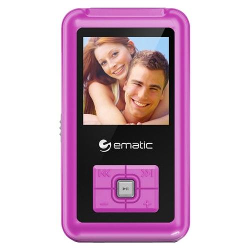 "Ematic EM208VID 8 GB Pink Flash Portable Media Player - 1.5"" - USB - Headphone"