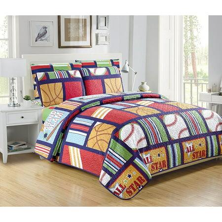 Fancy Linen 7pc Boys Full/Queen Size Sport Green Blue Bedspread Quilt Set New ()