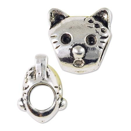 Large Hole Metal Cat Face Bead 12mm Pewter Antique Silver Plated (Package of 1 (Cat Face Type)