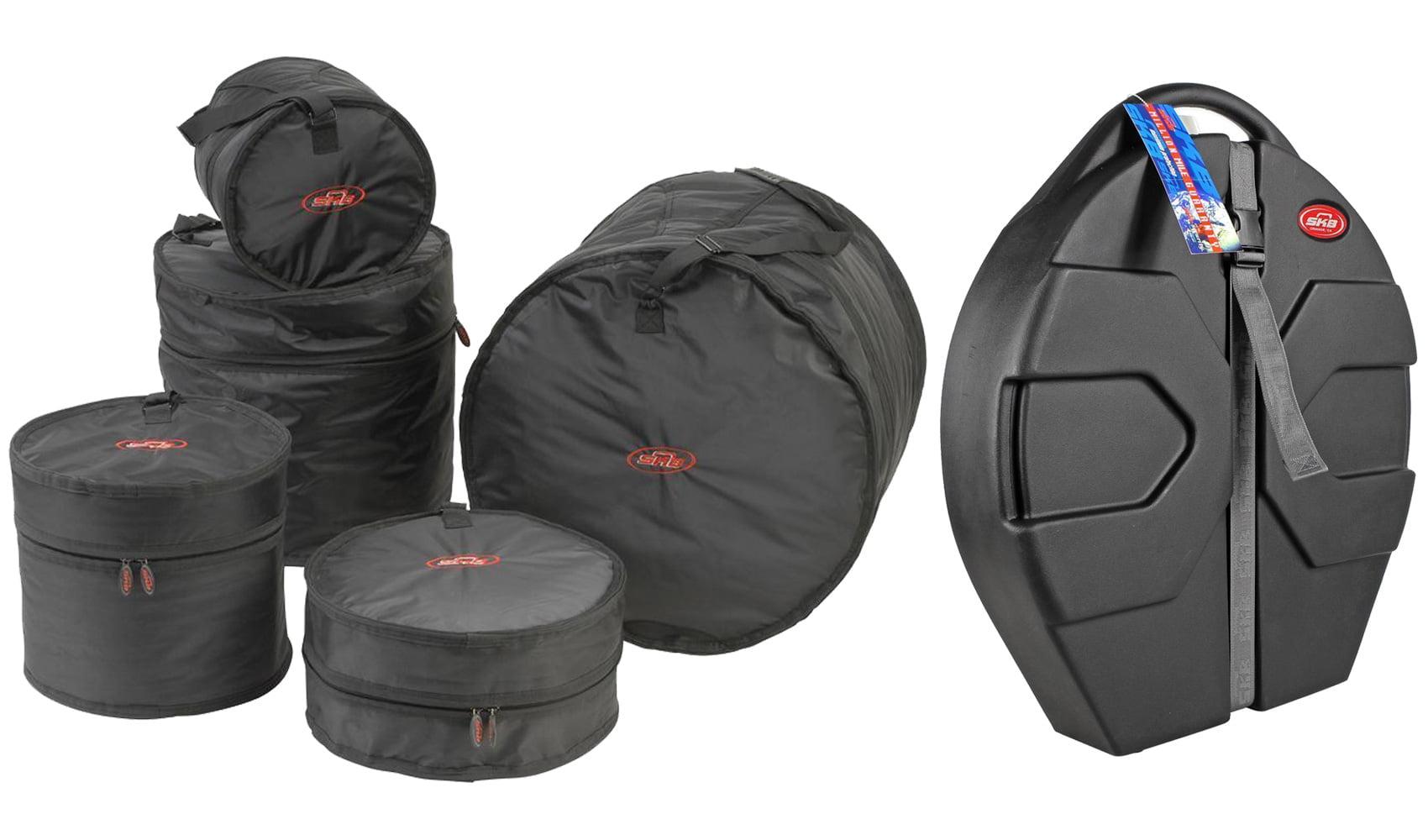 """SKB 1SKB-DBS1 5-Piece Drum Soft Bag Travel Cases+ SKB 22"""" Cymbal Vault Hard Case by SKB"""