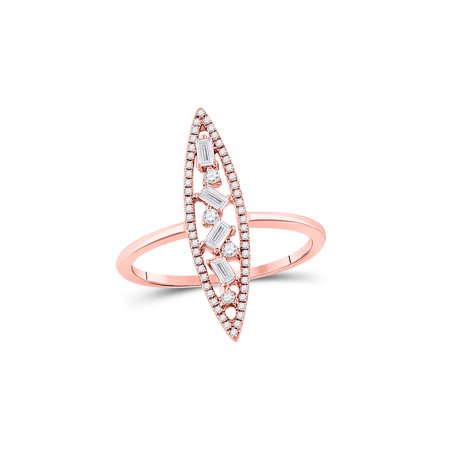 14kt Rose Gold Womens Baguette Diamond Oblong Geometric Statement Fashion Ring 1/4 Cttw Multiple Sizes Available