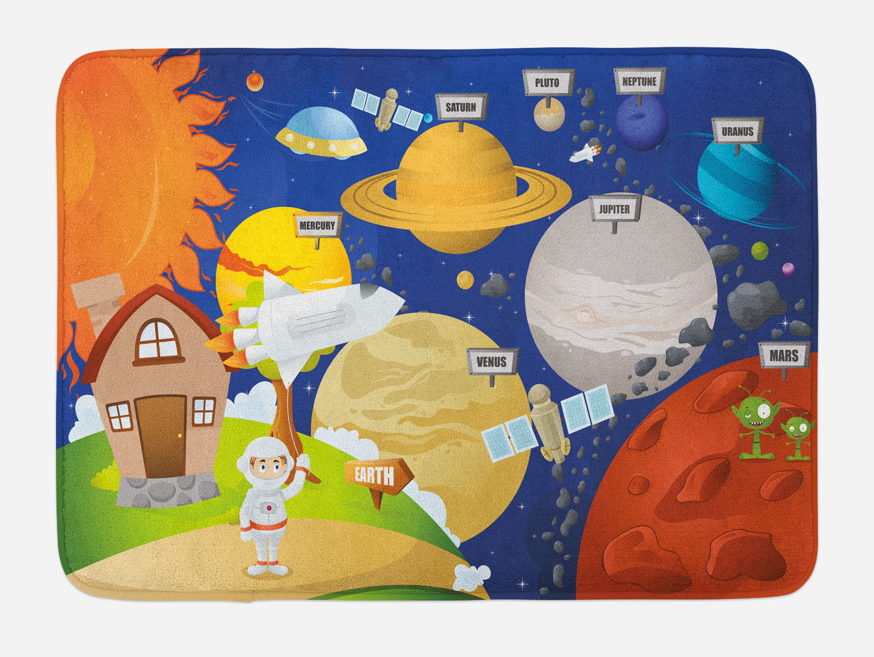 Educational Bath Mat, Cartoon Style Planet System And