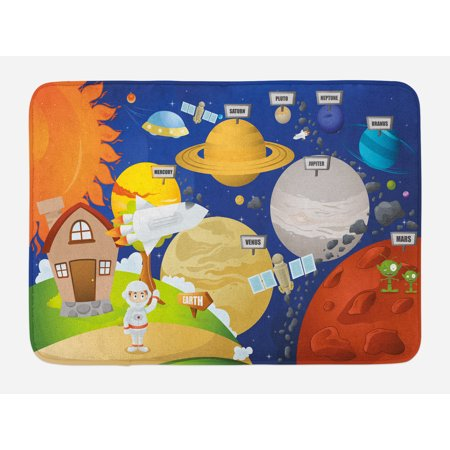 Bath System (Educational Bath Mat, Cartoon Style Planet System and Astronaut in Outer Space Galactic Adventure, Non-Slip Plush Mat Bathroom Kitchen Laundry Room Decor, 29.5 X 17.5 Inches, Multicolor, Ambesonne)