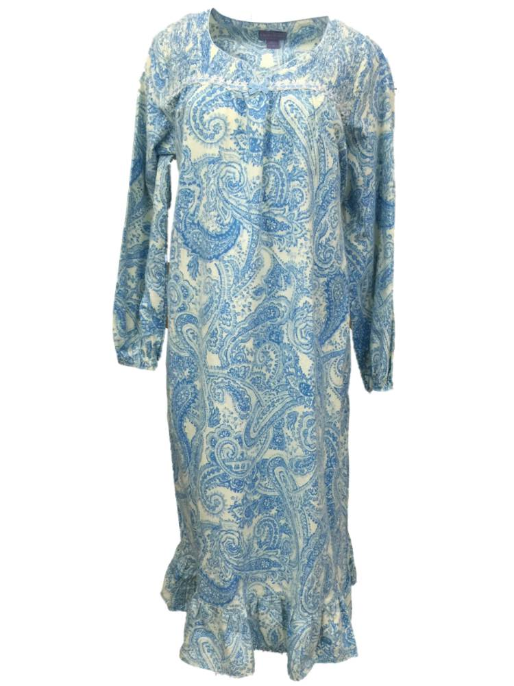 Laura Scott Womens Blue & Ivory Paisley Flannel Nightgown Night Gown ...