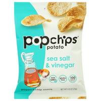 Popchips Potato Chip, Sea Salt And Vinegar, .8 Oz, Pack Of 24