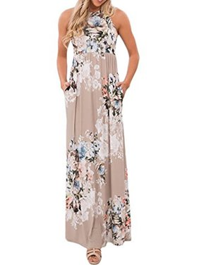 d63a2712142f34 Product Image Sleeveless Floral Print Women s Long Maxi Dress Holiday Wear  with Pocket