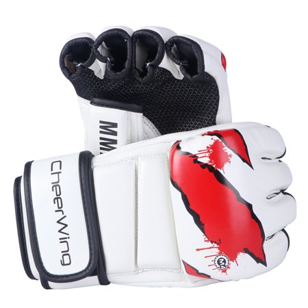 MMA Boxing Gloves Sparring Grappling Fight Punch Mitts Leather Training