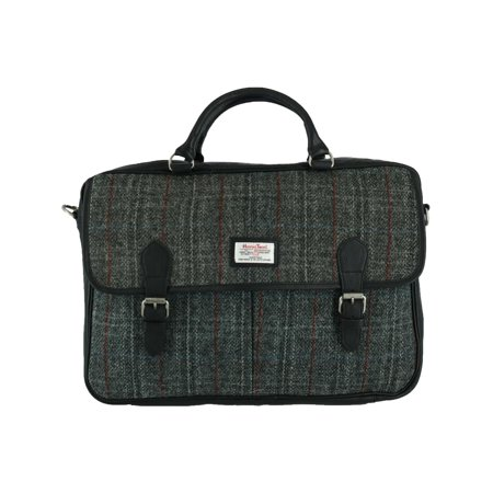 Size one size Men's Berneray Harris Tweed and Leather Tartan Briefcase, Black - Mans Harris Tweed