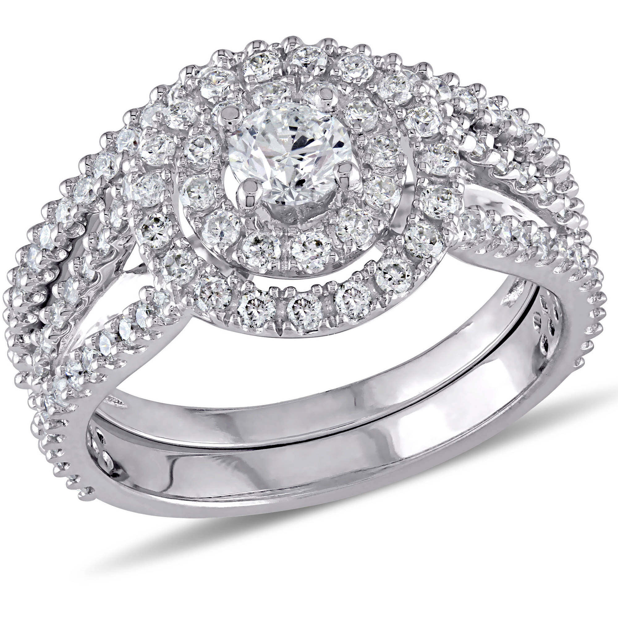 Miabella 1-1/5 Carat T.W. Diamond 14kt White Gold Double Halo Bridal Set
