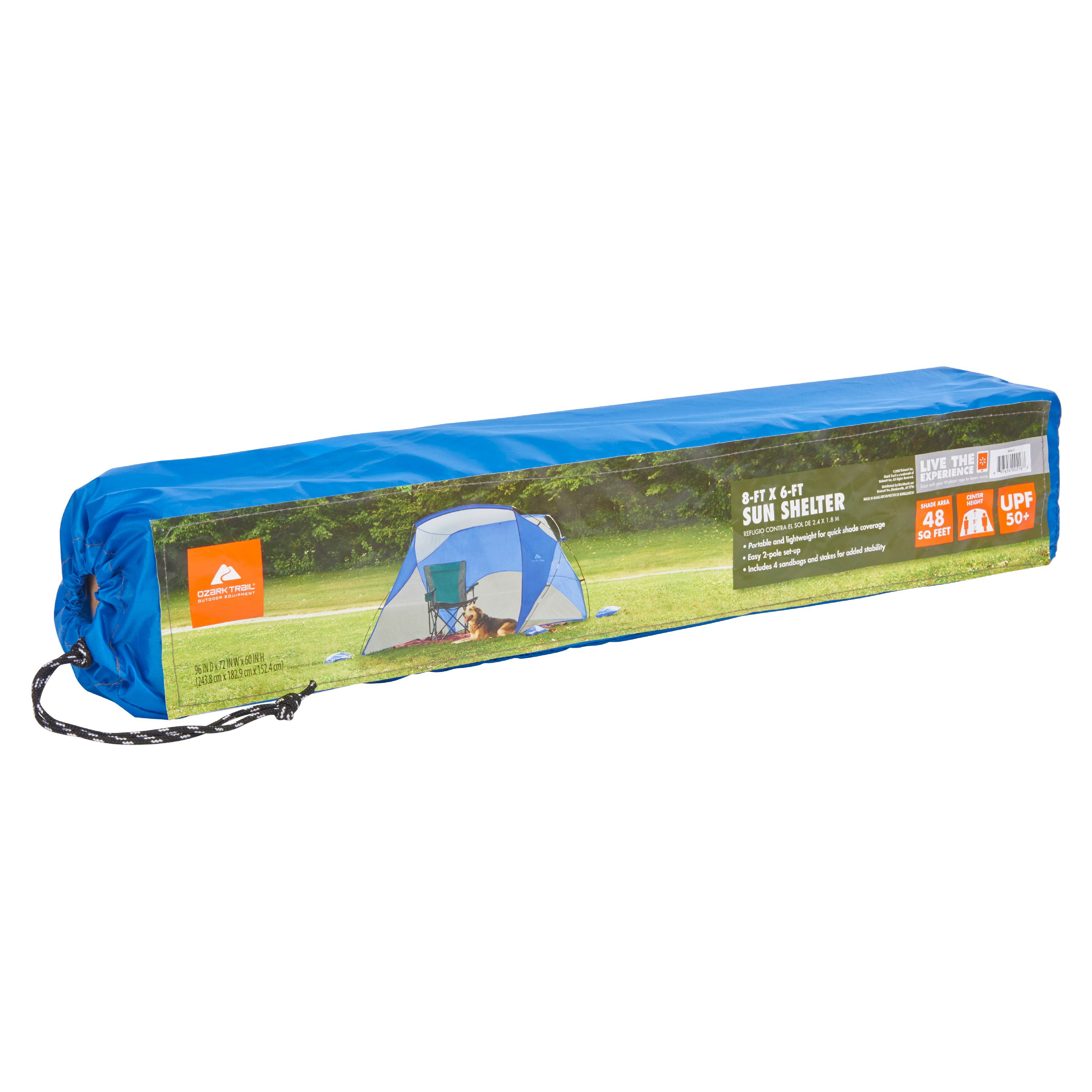 Ozark Trail 8 Ft X 6 Ft Portable Sun Shelter With Uv Protection Walmart Com Walmart Com