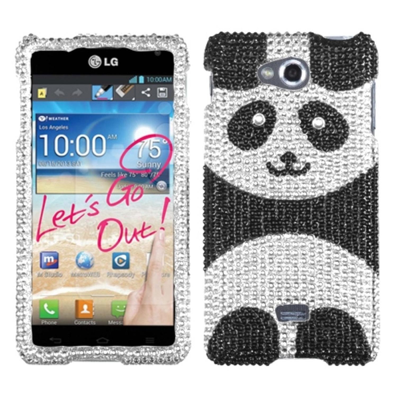 Insten Playful Panda Diamante Phone Case for LG: MS870 (Spirit 4G)