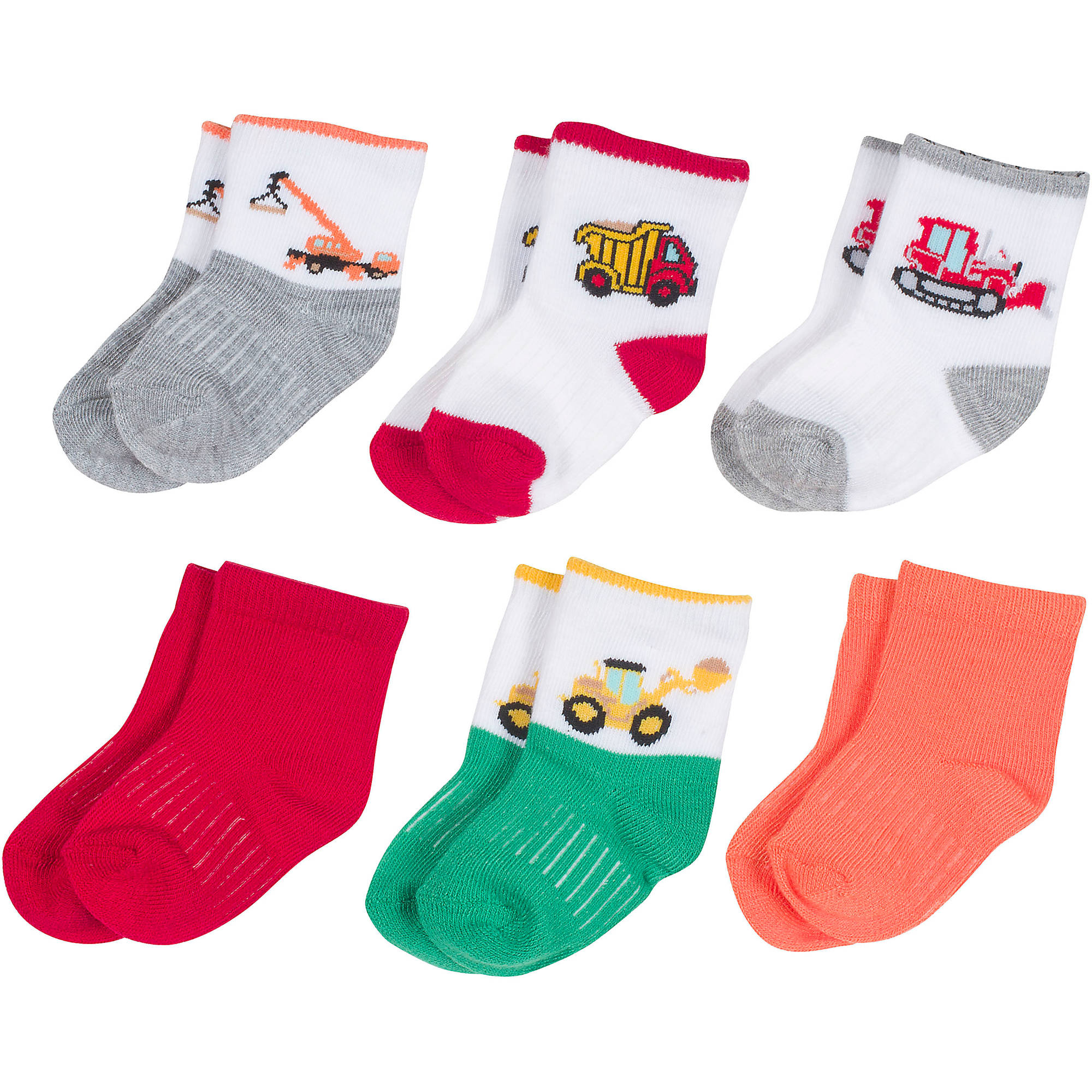 Growing Socks by Peds, Boy Infant, Construction Vehicle, 6 Pairs