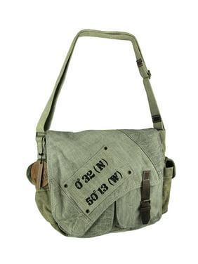 8e8bd096f5 Product Image Vintage Wash Canvas Compass Coordinates Messenger Bag  w/Leather Trim