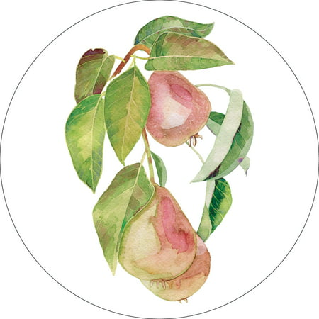 Watercolor Pears Art Fruit Kitchen Wall Shelf Sign Decoration Round Size (9,12,or 18 Inches)