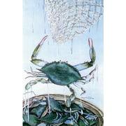 "Crab Net Summer Garden Flag Bushel Bay Water Blue Claw Printed in the USA12""x18"""