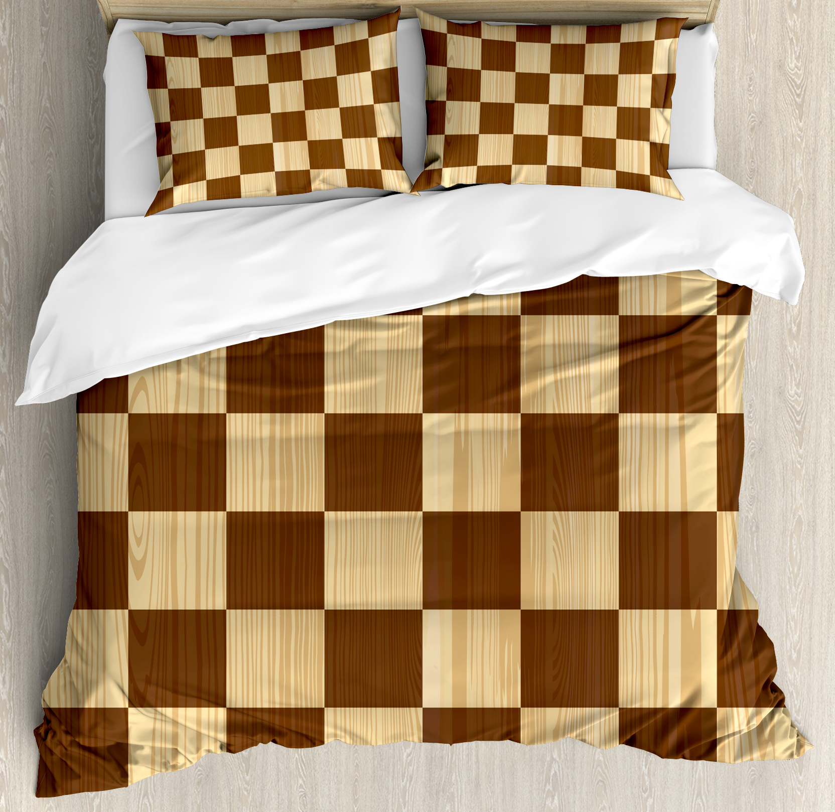 Checkered King Size Duvet Cover Set, Empty Checkerboard Wooden Seem Mosaic Texture Image Chess Game Hobby Theme, Decorative 3 Piece Bedding Set with 2 Pillow Shams, Brown Pale Brown, by Ambesonne