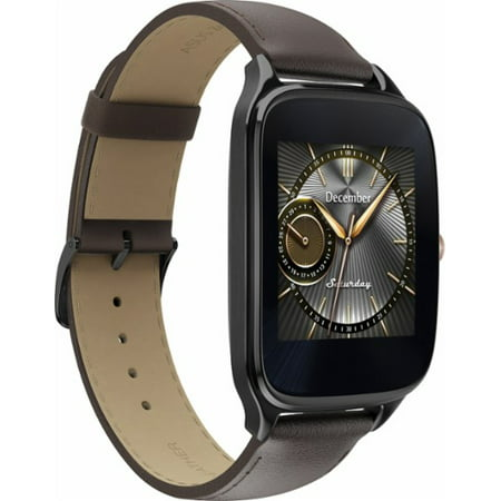 Refurbished ZenWatch 2 WI501Q Smartwatch 1.63 Stainless Steel Gunmetal Brown Leather Band ASU-WI501Q-2J-GB1
