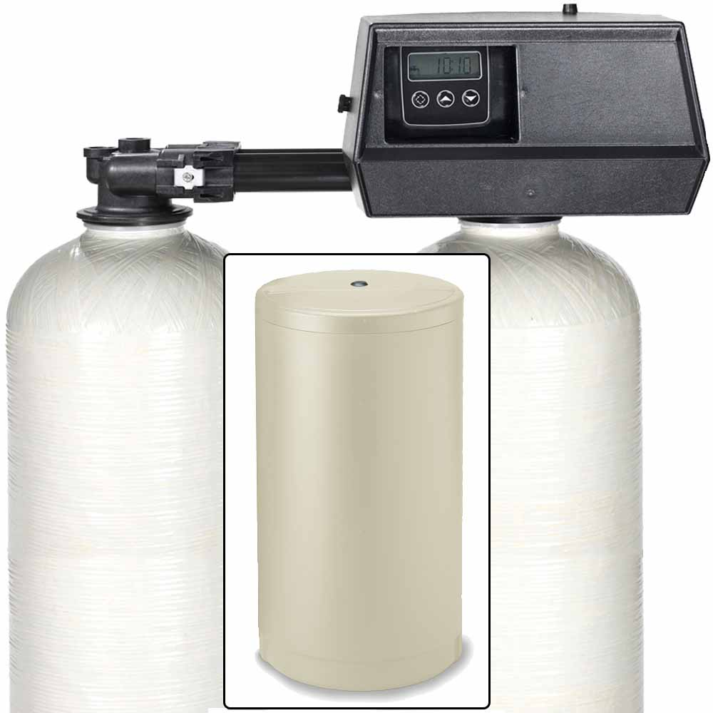 64k Digital Dual Tank Alternating IRON PRO Water Softener with Fleck 9100SXT - Removes Iron, Manganese, and Hardness