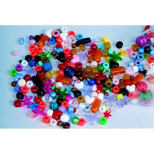 School Smart Plastic Assorted Shape Bead Mix 1 Pound Assorted