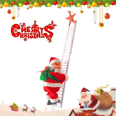 GLiving Santa Climbing Plush Doll Toy - Music Electric Santa Climbing on Ladder Decoration for Stairwell Door Window Hanging Ornament Christmas Tree Decoration ()