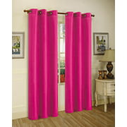 "1 PANEL Nancy SOLID HOT PINK SEMI SHEER WINDOW FAUX SILK ANTIQUE BRONZE GROMMETS CURTAIN DRAPES 55 WIDE X 84"" LENGTH"