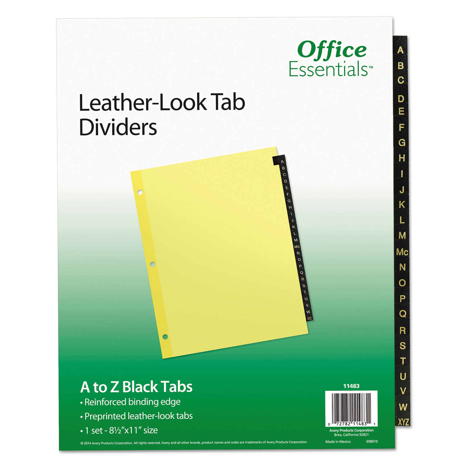 "Office Essentials Black Leather Preprinted Tab Dividers, 8-1/2"" x 11"", A-Z Tab, Black Tab, Buff Body, Not Printer Compatible, 1 Set/ST"