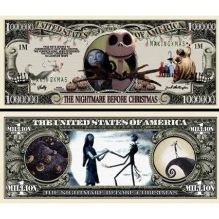 Lot of 5 Nightmare Before Christmas Million Dollar Bill by, Features Jack Skellington, Sally, Mr. Boogie Man By The Cyber Mart Store