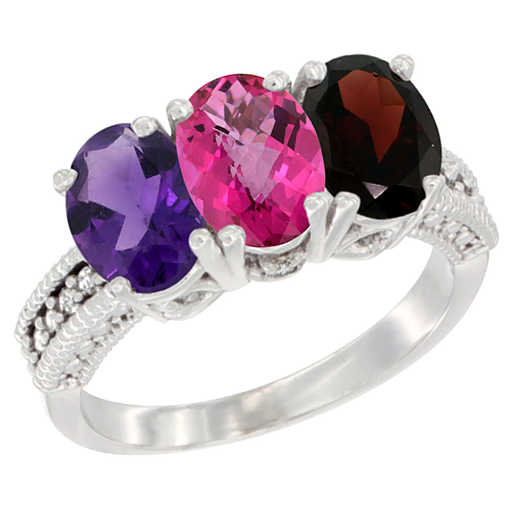 10K White Gold Natural Amethyst, Pink Topaz & Garnet Ring 3-Stone Oval 7x5 mm Diamond Accent, sizes 5 10 by WorldJewels