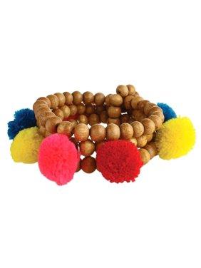 044c76d83 Product Image Zad Jewelry Aruba Pom Pom Wood Beaded Stretch Bracelet Set,  Multi