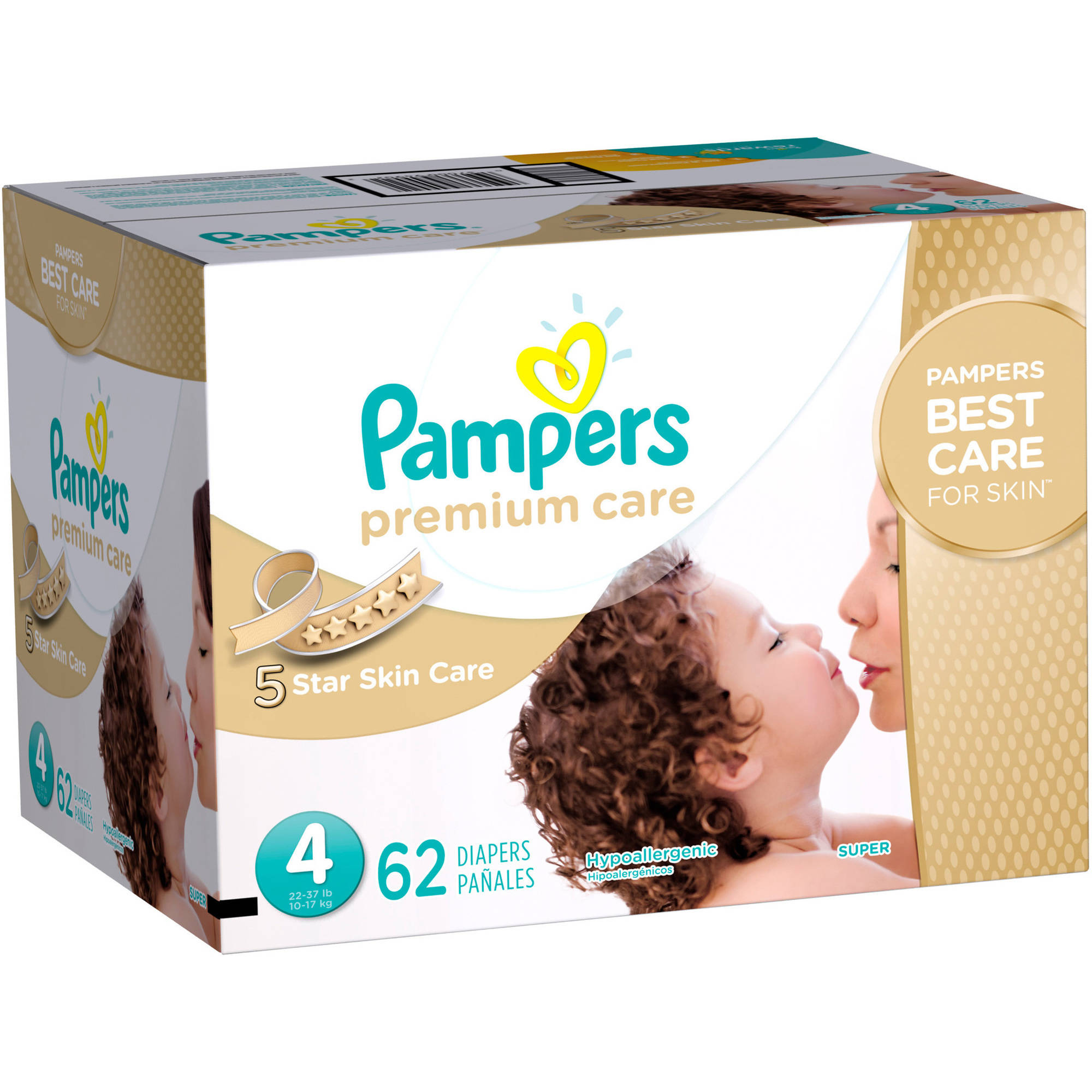 - Pa/ñal Pampers Premium Care 4 52pieza s Disposable diaper, Color blanco