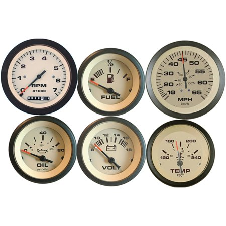 Sierra 69704P Sahara Series Black And Tan Inboard Outboard 6 Set With Tachometer Hourmeter  Speedometer  Voltmeter  Fuel  Water Temperature And Oil Pressure Gauges