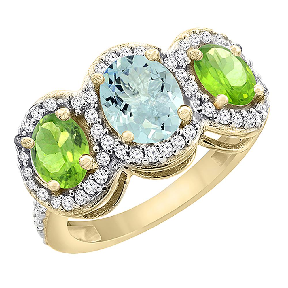 14K Yellow Gold Natural Aquamarine & Peridot 3-Stone Ring Oval Diamond Accent, size 7.5 by Gabriella Gold