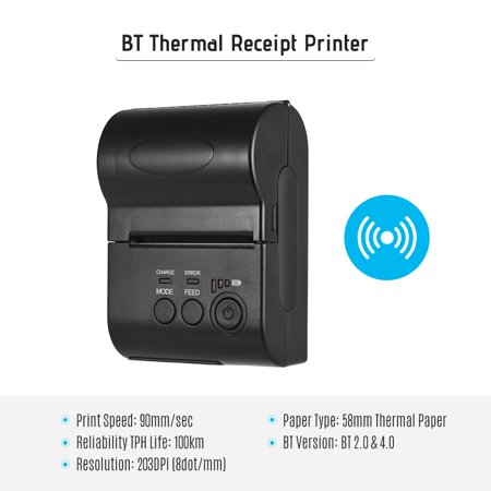 58mm Portable Mini BT Thermal Printer with Rechargeable Battery Receipt Bill Ticket High Speed Printing Compatible with ESC/POS Print Command iOS Android Smartphone